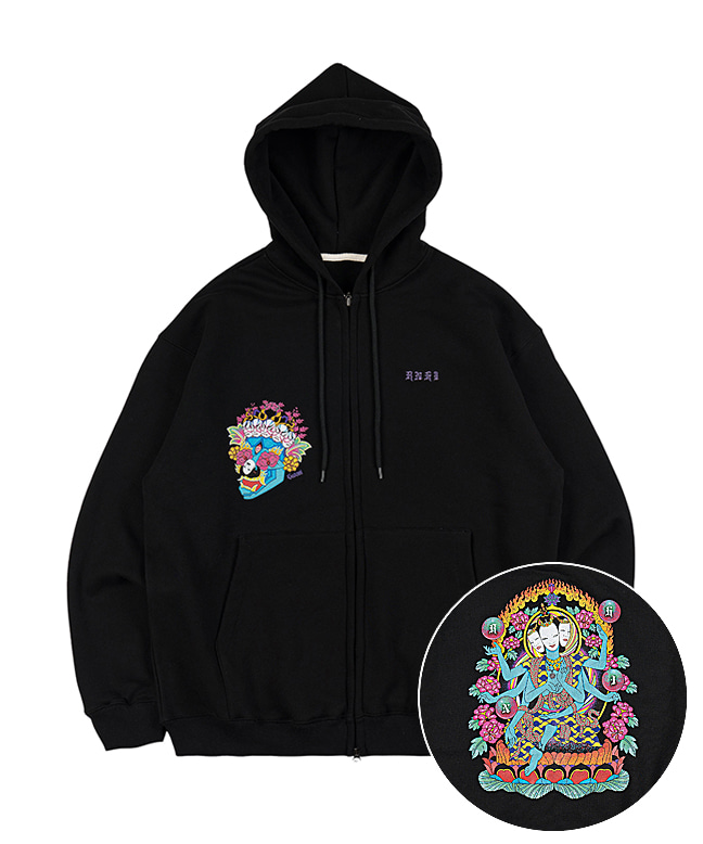 [SUZANI] HINDU GRAPHIC ZIP UP HOODIE [BLACK]