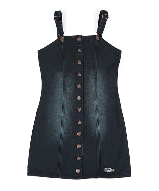 TINT WASHED SLEEVELESS DENIM DRESS [BLACK]