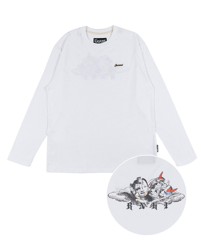 [SUZANI] MASK ANGEL L/S TEE [WHITE]