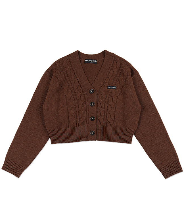 LAMBs WOOL CABLE CROP CARDIGAN [BROWN]