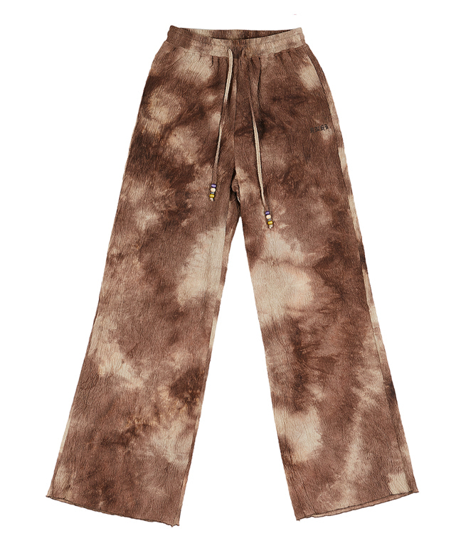 TIE DYE PLEATED WIDE PANTS [BROWN]