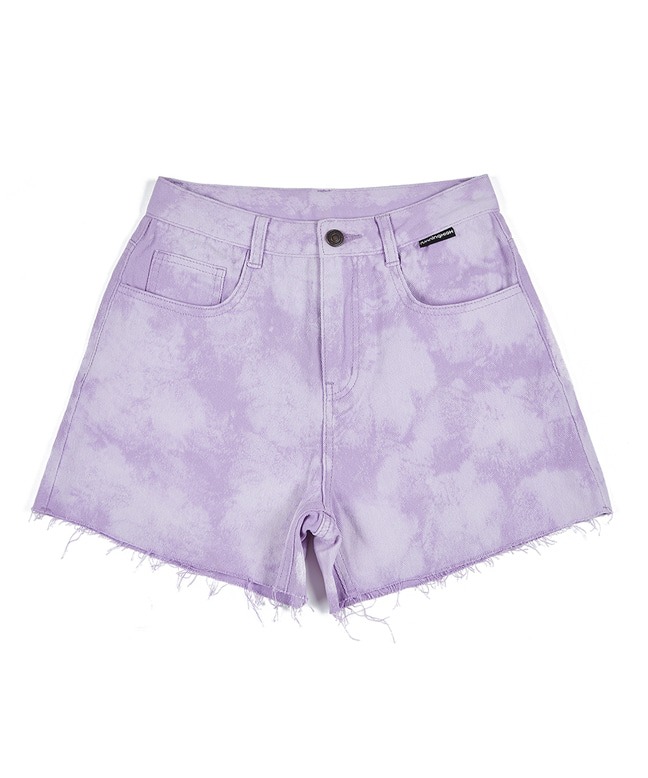 BLEACH WASHED DENIM SHORT PANTS [LILAC]