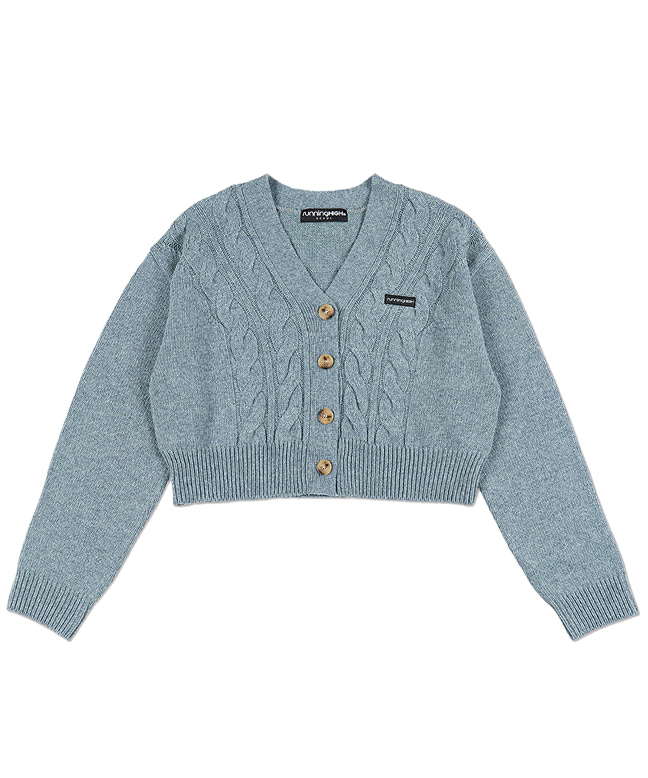 LAMBs WOOL CABLE CROP CARDIGAN [MINT]