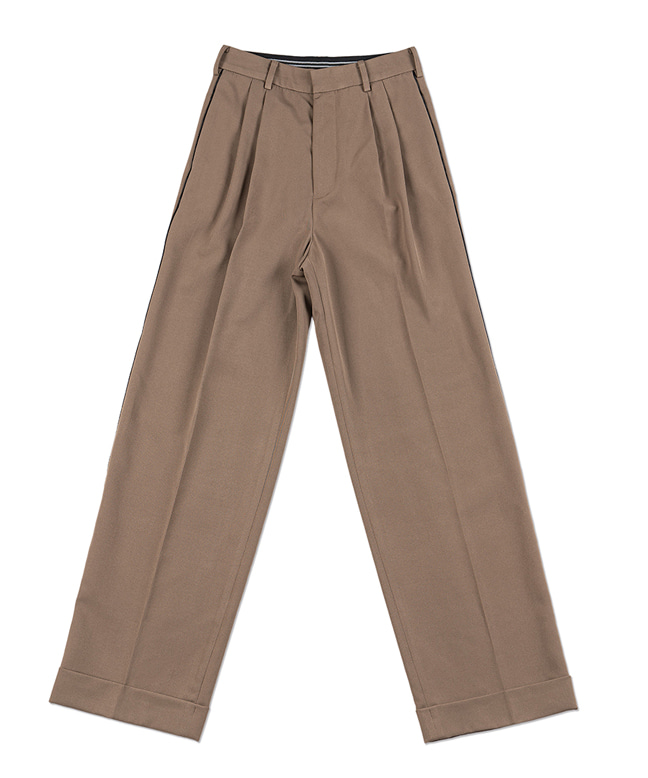 LINE POINT WIDE SLACKS [MOCHA BROWN]
