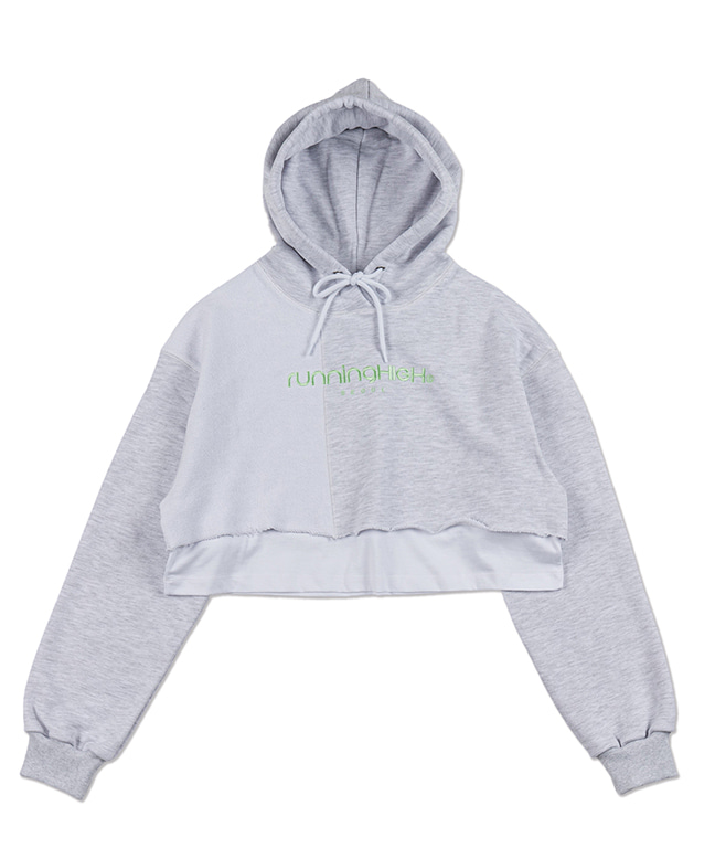 PATCH WORK LAYERED CROP HOODIE [WHITE MELANGE]