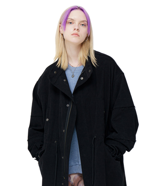TWILL COTTON FISHTAIL LONG COAT [BLACK]