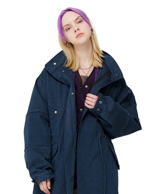TWILL COTTON FISHTAIL LONG COAT [NAVY]