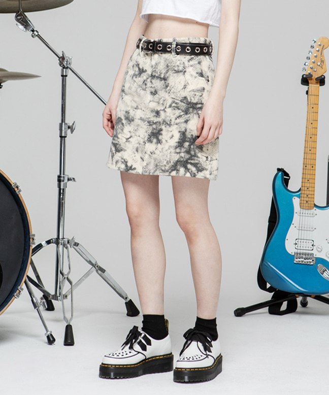 CLOUD DYE COTTON MINI SKIRT [CREAM]