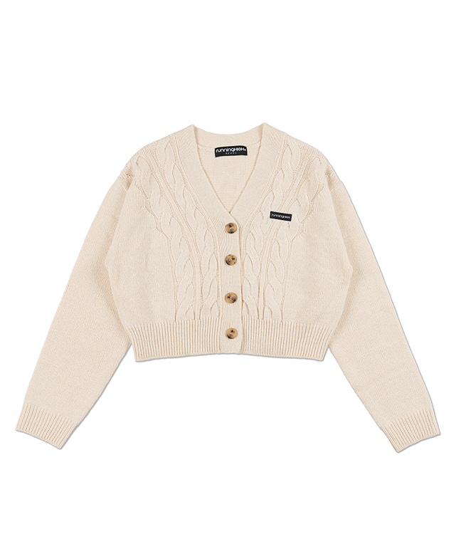 LAMBs WOOL CABLE CROP CARDIGAN [IVORY]