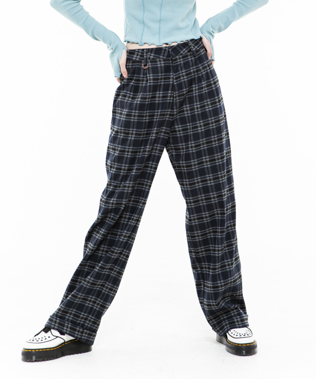 RNHI CHECK WIDE SLACKS [NAVY]