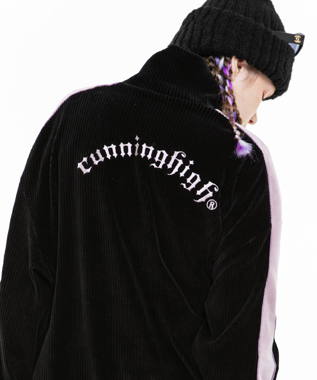 CORDUROY VELVET ZIP UP TRACK JUMPER [BLACK]
