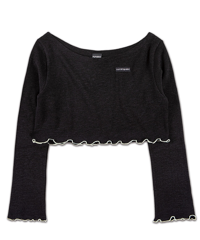MELANGE KNITTED WIDE NECK CROP TOP [BLACK]