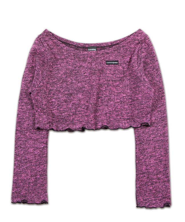 MELANGE KNITTED WIDE NECK CROP TOP [PINK]