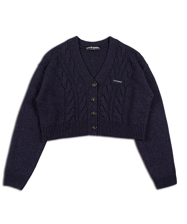 LAMBs WOOL CABLE CROP CARDIGAN [NAVY]