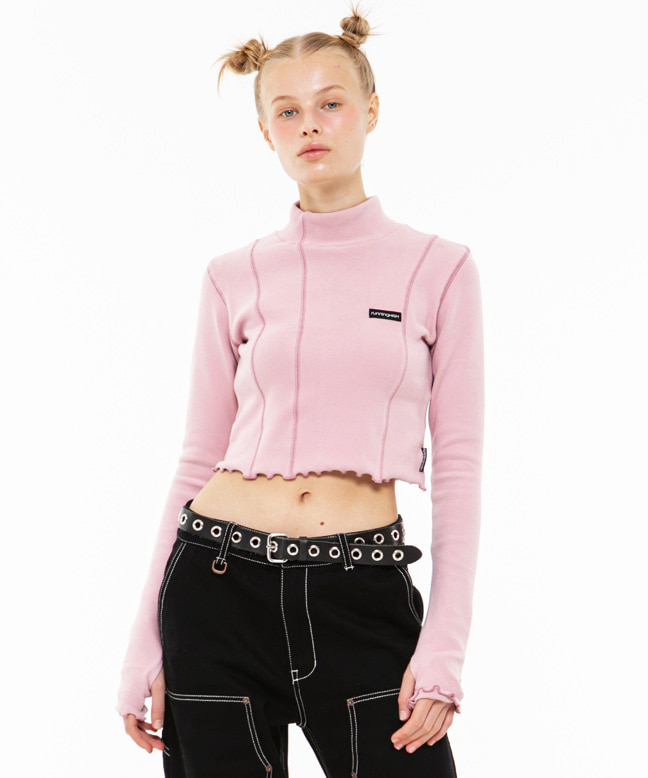 STITCH POINT MOCK NECK SLIM WARMER [PINK]