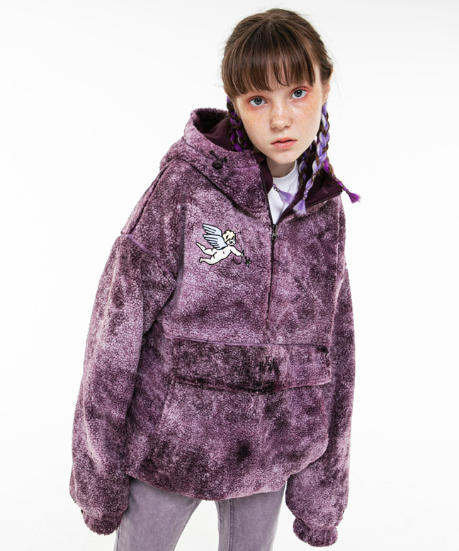 ANGEL EMBROIDERY DYED FUR ANORAK PARKA [PURPLE]