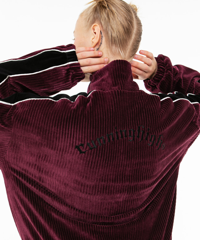 CORDUROY VELVET ZIP UP TRACK JUMPER [WINE]