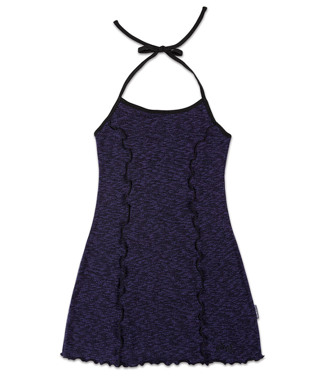 MELANGE KNITTED HALTER NECK SHIRRING DRESS [PURPLE]