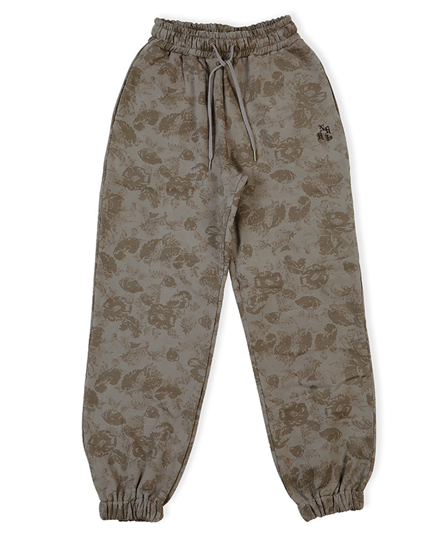 FLOWER PATTERN SWEAT PANTS [BROWN]