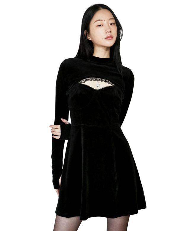 VELVET SET-UP MINI DRESS [BLACK]