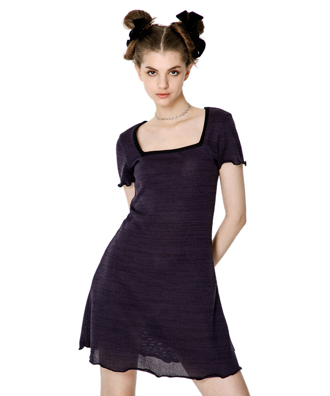 SQUARE NECK KNITTED SLIM DRESS [PURPLE]