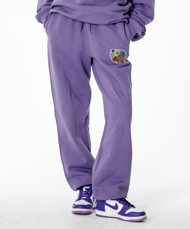 FLOWER LOGO SWEAT PANTS [PURPLE]
