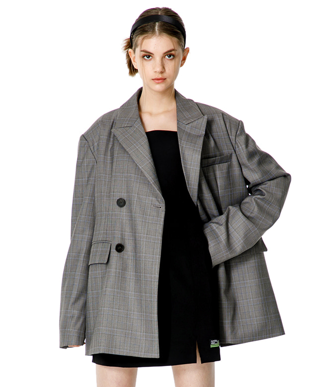 OVERSIZED DOUBLE BREASTED BLAZER [GREY CHECK]