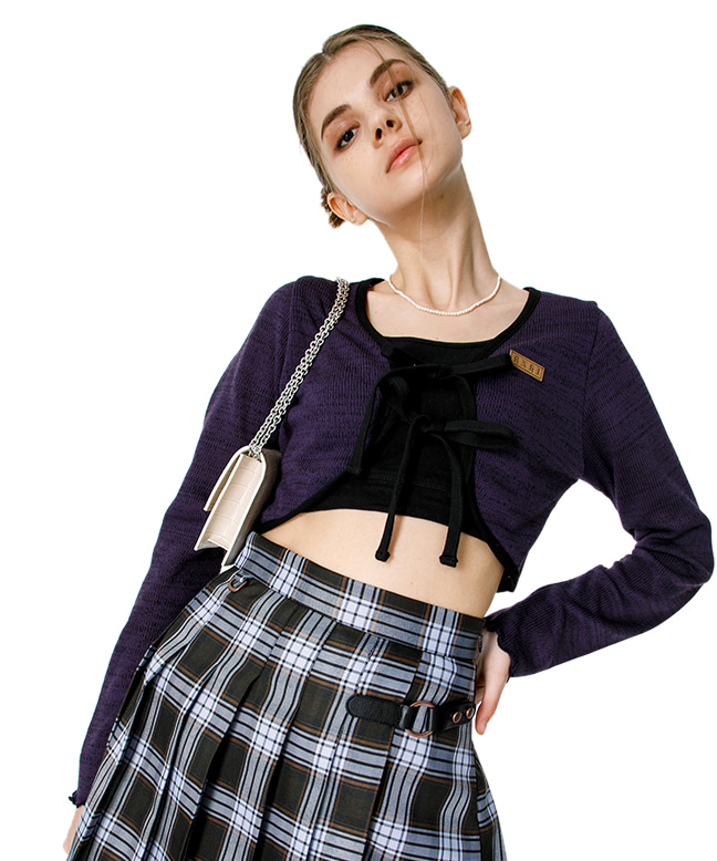DOUBLE STRING KNITTED BOLERO CARDIGAN [PURPLE]