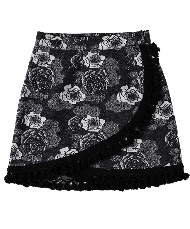 JACQUARD FABRIC FLOWER WRAP SKIRT [BLACK]