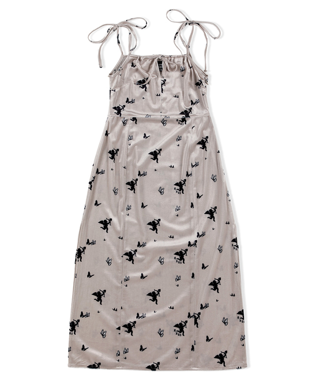 CUPID ANGEL SLEEVELESS VELVET DRESS [IVORY]