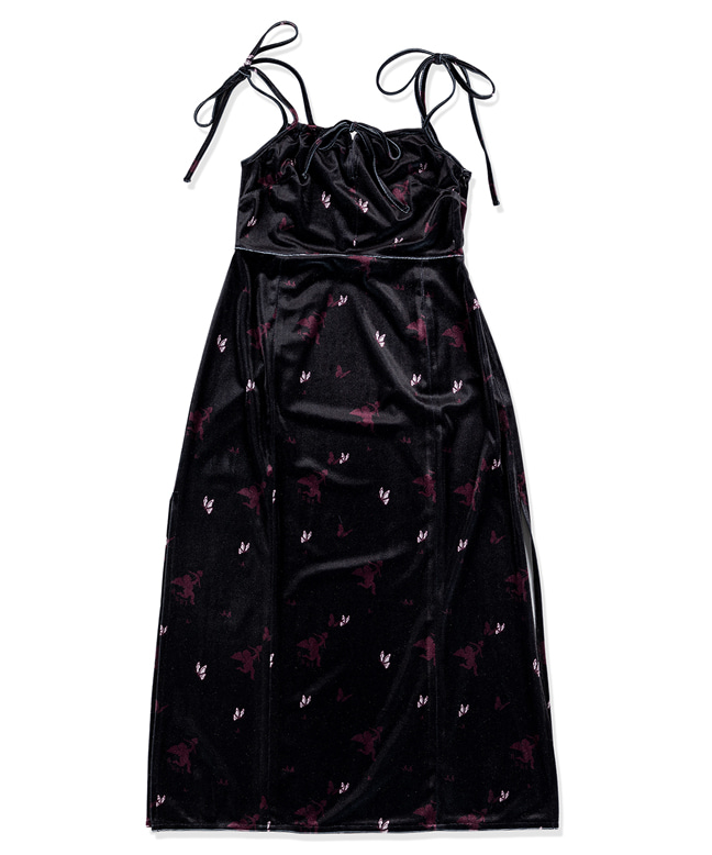 CUPID ANGEL SLEEVELESS VELVET DRESS [BLACK]