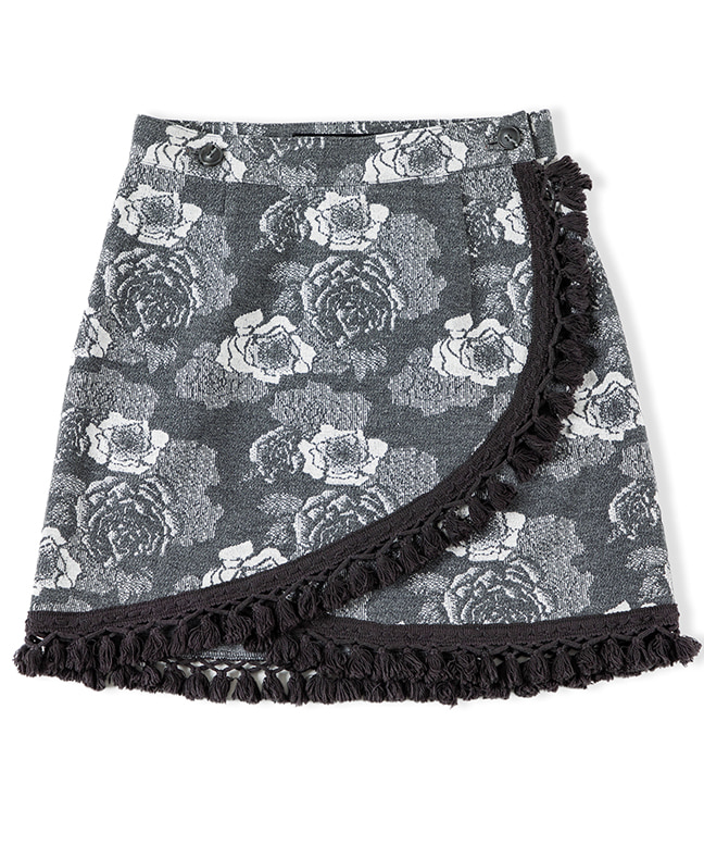 JACQUARD FABRIC FLOWER WRAP SKIRT [GREY]