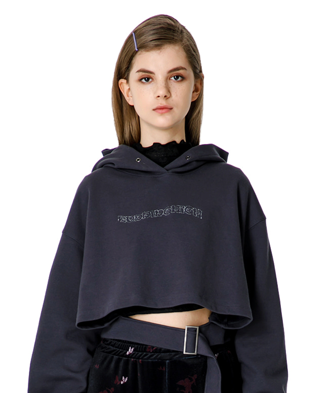 GLITTER LOGO BELTED CROP HOODIE [CHARCOAL]