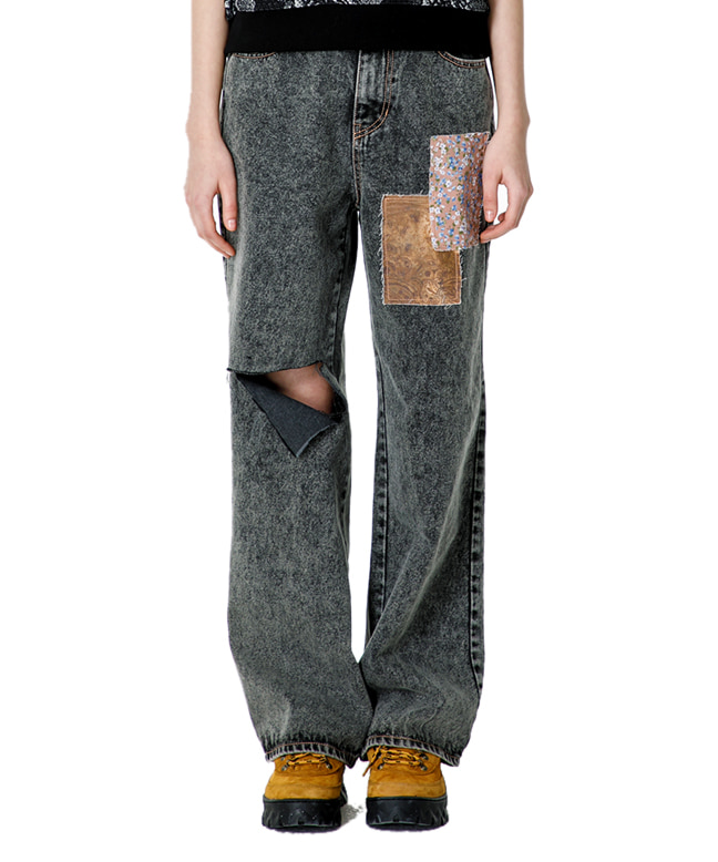 VINTAGE MOOD PATCHED DENIM PANTS [GREY]