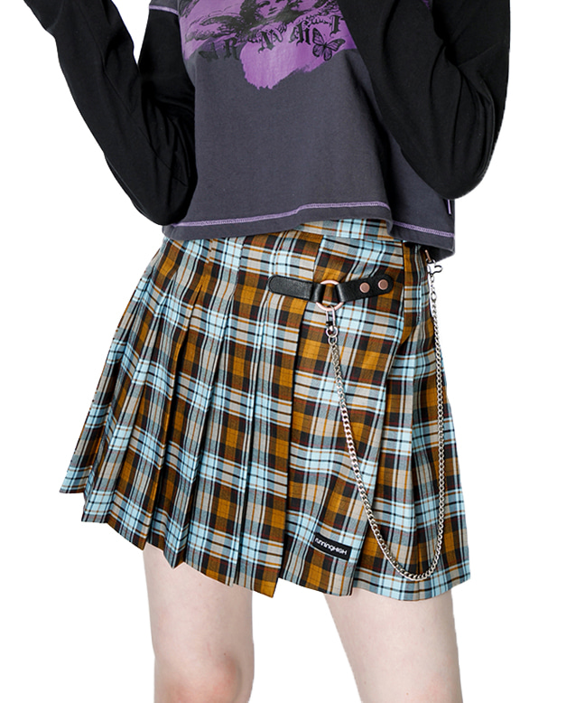 BUCKLE CHECK PLEATED SKIRT [YELLOW]