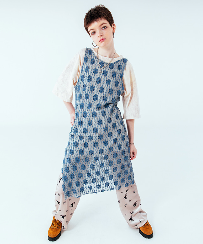FLOWER PATTERN SEE-THROUGH SLIM LONG DRESS [BLUE]