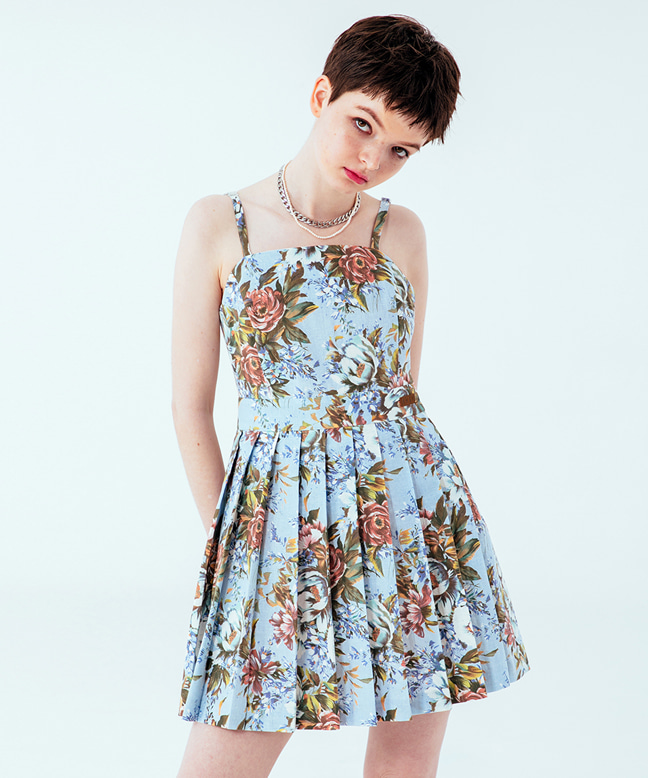 FLOWER PLEATED SLEEVELESS MINI DRESS [SKY BLUE]