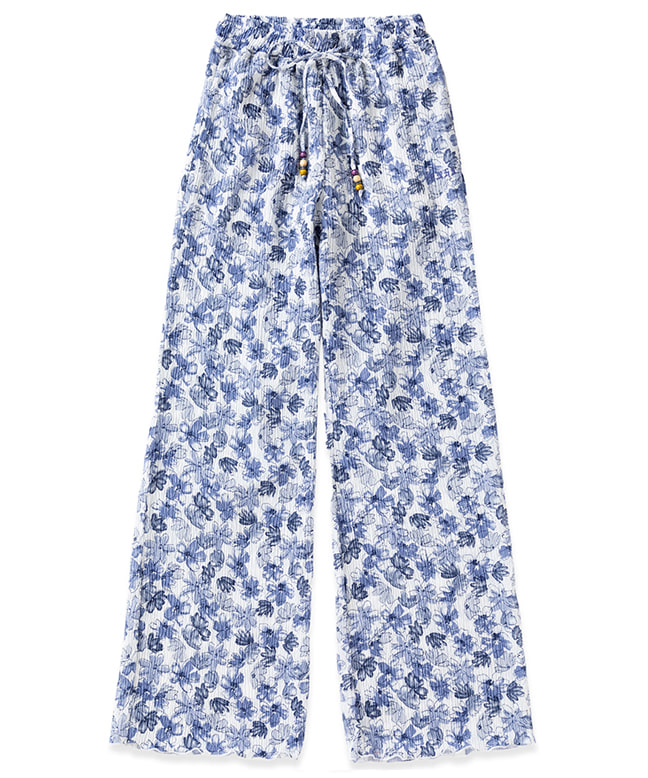 TIE DYE PLEATED WIDE PANTS [FLOWER BLUE]