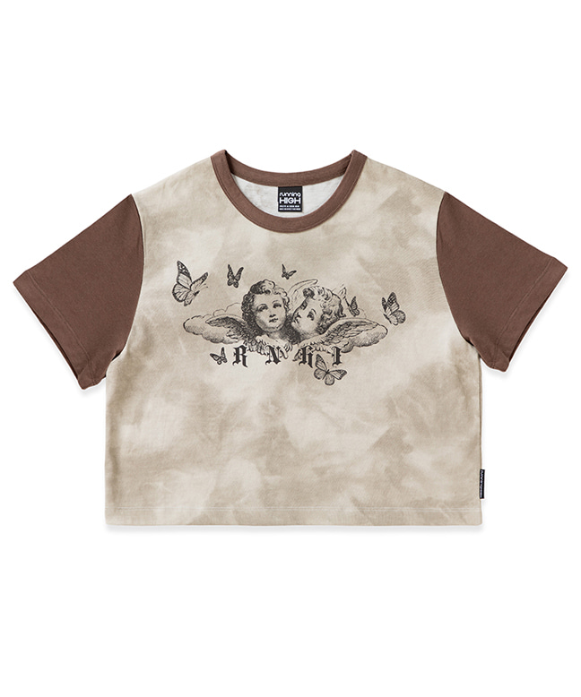 BUTTERFLY ANGEL PRINTING CROP TEE [BROWN]
