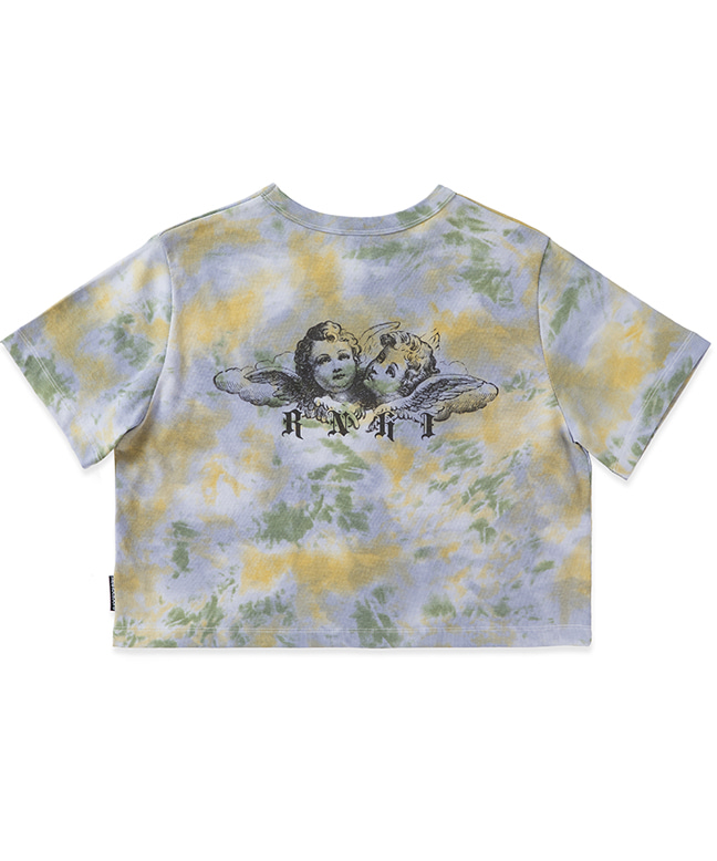 DYED ANGEL PRINTING CROP TEE [BLUE]