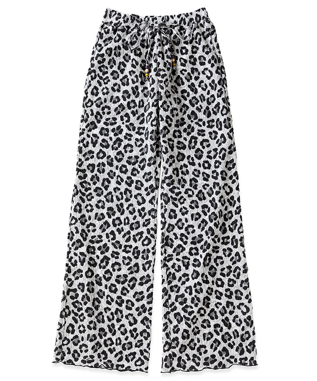 TIE DYE PLEATED WIDE PANTS [LEOPARD BLACK]
