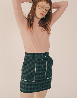 BUTTON FLY LINE CHECK SKIRT [GREEN]