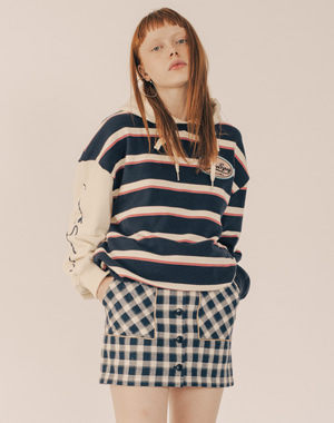 BUTTON FLY LINE CHECK SKIRT [NAVY]