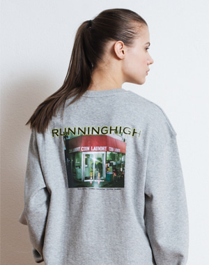 R LOGO PICTURE PRINTING SWEAT SHIRT [GRAY]
