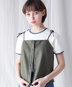 FLOWER POINT LINEN SHIRT BUSTIER [KHAKI]