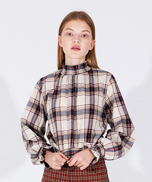 VINTAGE CHECK FRILL BLOUSE [IVORY]