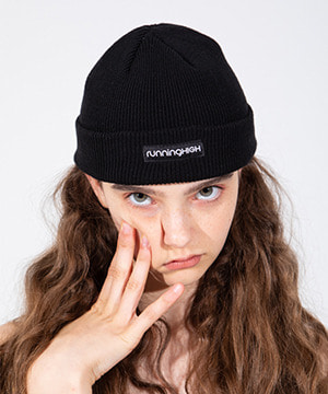 BOX LOGO COTTON BEANIE [BLACK]