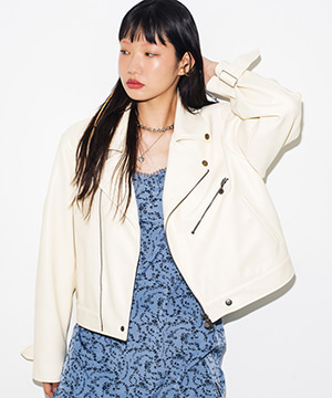 FAKE LEATHER CROP RIDER JACKET [IVORY]