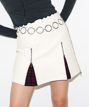 FAKE LEATHER ZIP UP MINI SKIRT [IVORY]