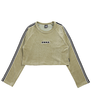 LINE POINT VELVET CROP TEE [OLIVE GREEN]